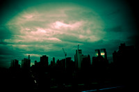 View of NYC SKYLINE at Dusk from w12th Street Roof top . NYC